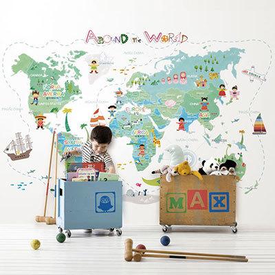 세계지도벽지 아이방 아기방 키즈 어린이 뮤럴 벽지 [05 드림월드맵-그린]