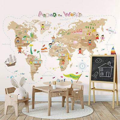 세계지도벽지 아이방 아기방 키즈 어린이 뮤럴 벽지 [06 드림월드맵-베이지]