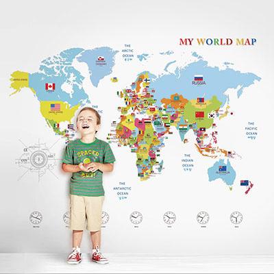 세계지도벽지 아이방 아기방 키즈 어린이 뮤럴 벽지 [07 어라운드월드]
