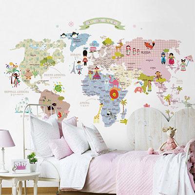 세계지도벽지 아이방 아기방 키즈 어린이 뮤럴 벽지 [11 러블리월드]