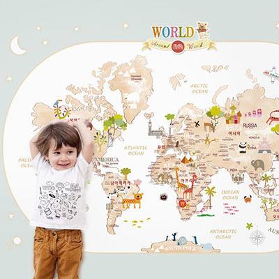 세계지도벽지 아이방 아기방 키즈 어린이 뮤럴 벽지 [13 아이러브월드-민트]