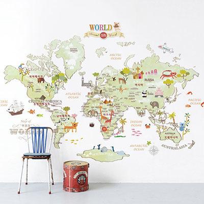 세계지도벽지 아이방 아기방 키즈 어린이 뮤럴 벽지 [14 아이러브월드-그린]