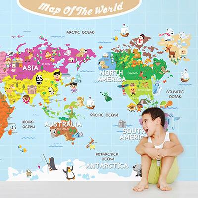 세계지도벽지 아이방 아기방 키즈 어린이 뮤럴 벽지 [15 왕자님세계지도-하늘]