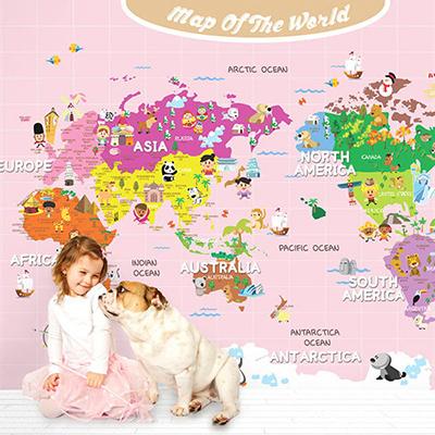 세계지도벽지 아이방 아기방 키즈 어린이 뮤럴 벽지 [16 공주님세계지도-핑크]