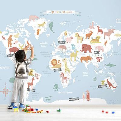 세계지도벽지 아이방 아기방 키즈 어린이 뮤럴 벽지 [17 동물친구-연하늘]