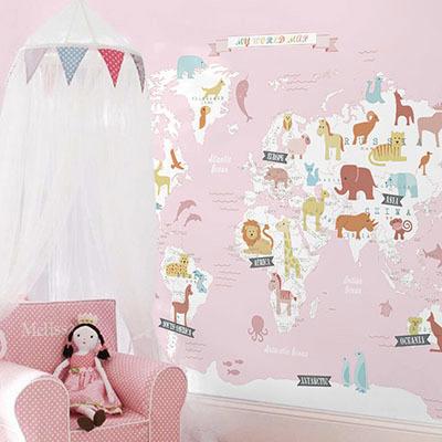 세계지도벽지 아이방 아기방 키즈 어린이 뮤럴 벽지 [18 동물친구-연핑크]
