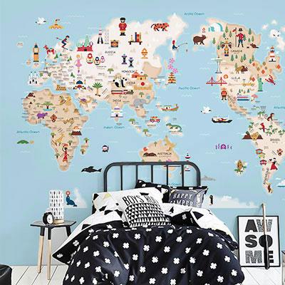 세계지도벽지 아이방 아기방 키즈 어린이 뮤럴 벽지 [19 프렌즈월드맵-하늘]