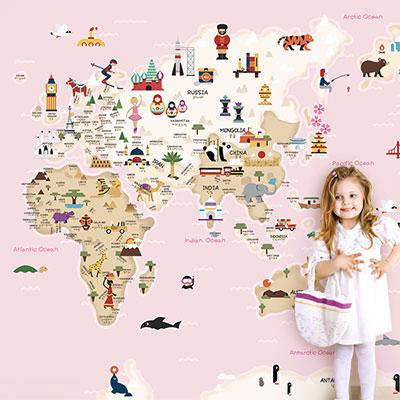 세계지도벽지 아이방 아기방 키즈 어린이 뮤럴 벽지 [20 프렌즈월드맵-핑크]
