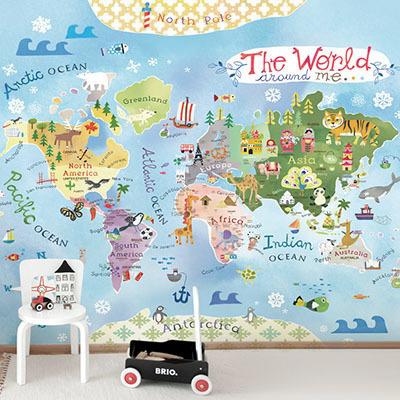 세계지도벽지 아이방 아기방 키즈 어린이 뮤럴 벽지 [37 퍼니월드맵]