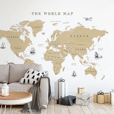 세계지도벽지 디자인 맞춤 프린트 인테리어 뮤럴 벽지 [21 빈티지맵-베이지]