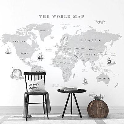 세계지도벽지 디자인 맞춤 프린트 인테리어 뮤럴 벽지 [22 빈티지맵-그레이]
