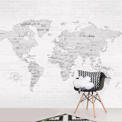 세계지도벽지 디자인 맞춤 프린트 인테리어 뮤럴 벽지 [24 빈티지블럭맵]
