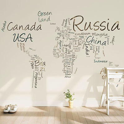 세계지도벽지 디자인 맞춤 프린트 인테리어 뮤럴 벽지 [26 타이포맵-베이지]