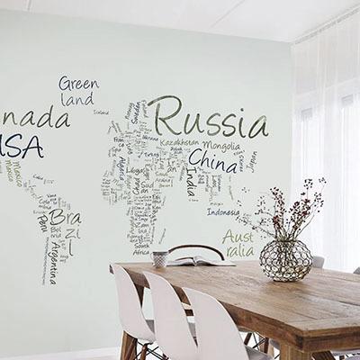 세계지도벽지 디자인 맞춤 프린트 인테리어 뮤럴 벽지 [25 타이포맵-민트]