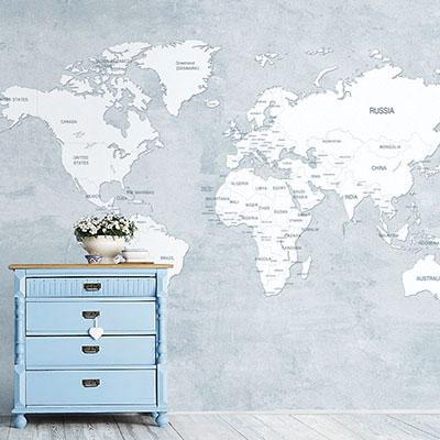 세계지도벽지 아이방 아기방 키즈 어린이 뮤럴 벽지 [28 영문맵-하늘]