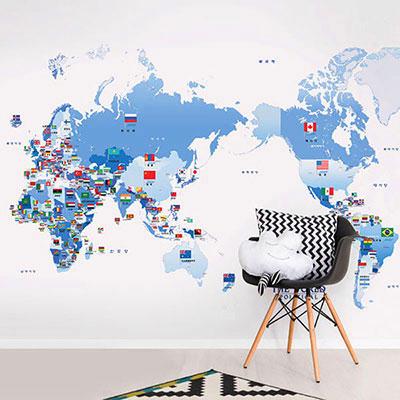 세계지도벽지 아이방 아기방 키즈 어린이 뮤럴 벽지 [38 만국기세계지도]