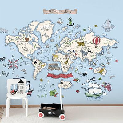 세계지도벽지 아이방 아기방 키즈 어린이 뮤럴 벽지 [31 보물찾기-하늘]