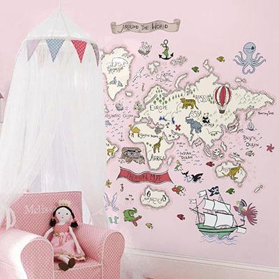 세계지도벽지 아이방 아기방 키즈 어린이 뮤럴 벽지 [32 보물찾기-핑크]