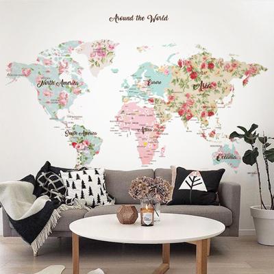 세계지도벽지 디자인 맞춤 프린트 인테리어 뮤럴 벽지 [12 프로랄 맵]