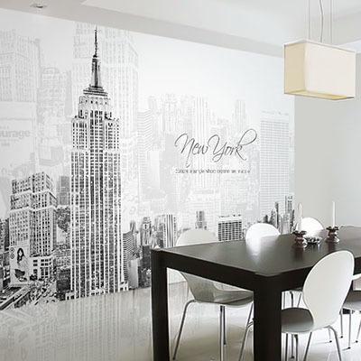 뮤럴 뉴욕 도시 풍경 실사 사진 디자인 인테리어 아트월 친환경 방염 실크 포인트벽지