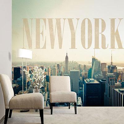 뮤럴 뉴욕 도시풍경 실사 사진 디자인 인테리어 아트월 친환경 방염 실크 고급 포인트벽지