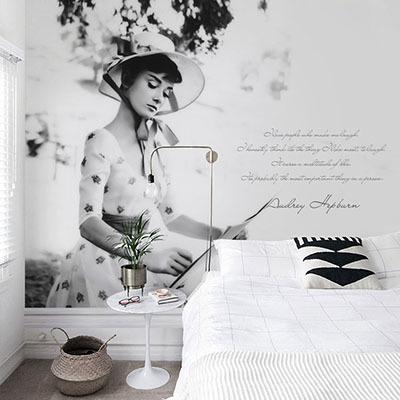뮤럴 오드리햅번 실사 사진 디자인 인테리어 아트월 친환경 방염 실크 고급 포인트벽지