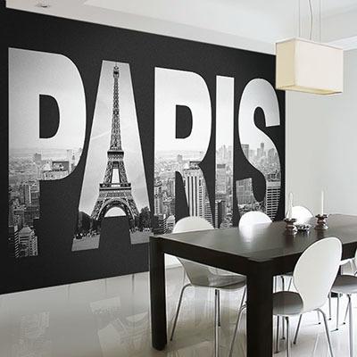 뮤럴 파리 에펠탑 실사 사진 디자인 인테리어 아트월 친환경 방염 실크 고급 포인트벽지