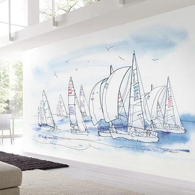 뮤럴 바다 풍경 실사 그림 디자인 인테리어 아트월 친환경 방염 실크 고급 포인트벽지