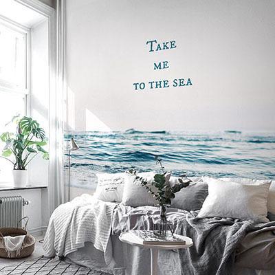 뮤럴 바다 풍경 실사 사진 디자인 인테리어 아트월 친환경 방염 실크 고급 포인트벽지