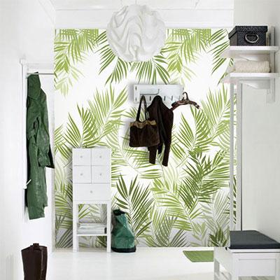 뮤럴 나뭇잎 그림 실사 디자인 인테리어 데코 아트월 친환경 방염 실크 고급 포인트벽지