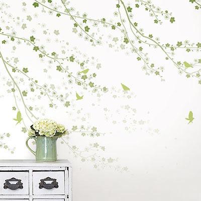 뮤럴 꽃 나무잎 그림 실사 디자인 인테리어 데코 아트 친환경 방염 실크 고급 포인트벽지