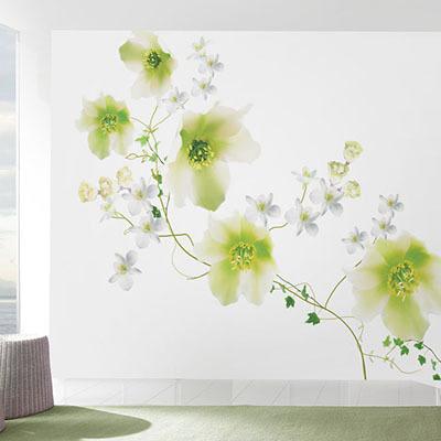 뮤럴 꽃 사진 실사 디자인 인테리어 데코 아트월 친환경 방염 실크 고급 포인트벽지