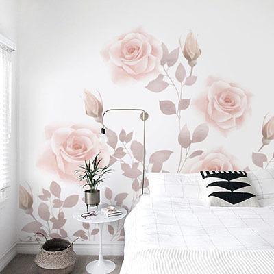 뮤럴 꽃 그림 실사 디자인 인테리어 데코 아트월 친환경 방염 실크 고급 포인트벽지