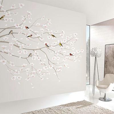 뮤럴 꽃 나무 그림 실사 디자인 인테리어 데코 아트월 친환경 방염 실크 고급 포인트벽지