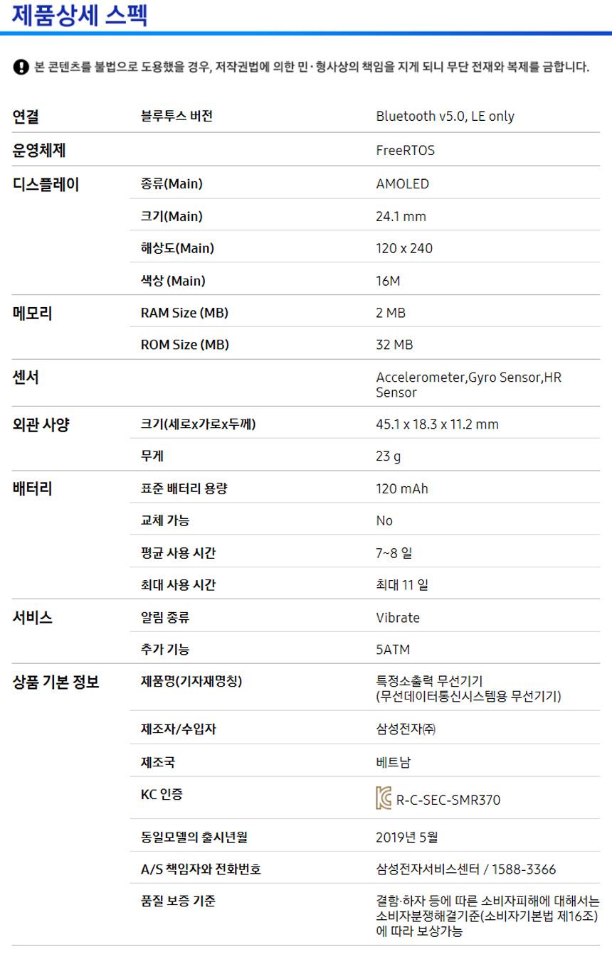삼성전자(SAMSUNG ELECTRONICS) 삼성 갤럭시 핏(FIT) / SM-R370