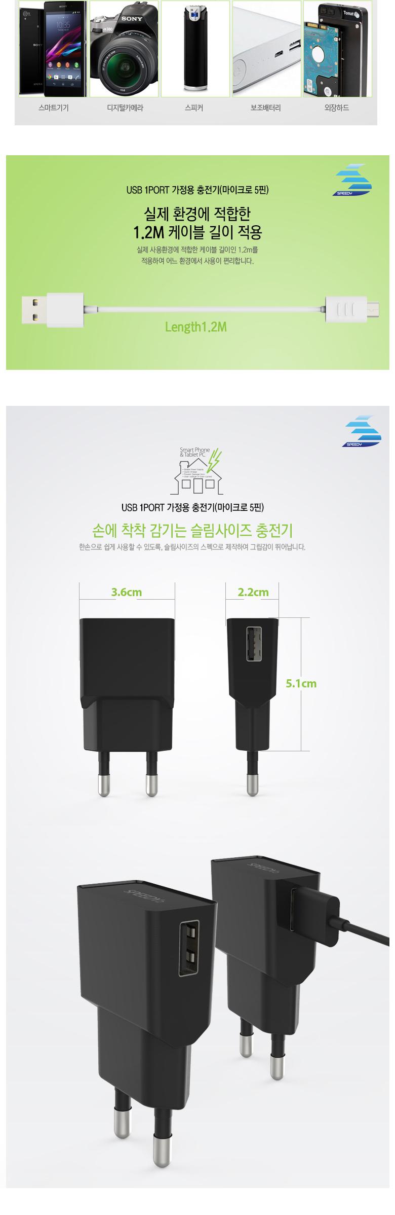 스피디 SPEEDY 5V 2.1A 5핀 가정용 USB 충전기 휴대폰 - 스피디, 4,000원, 충전기, 일체형충전기