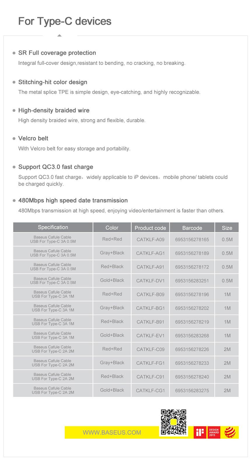 베이스어스 C타입 퀵차지3.0 고속 충전 케이블 2M - 베이스어스, 4,900원, 케이블, C타입