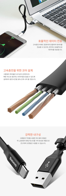 베이스어스 메탈 C타입 보조배터리용 숏케이블 23cm 고속 충전케이블 - 베이스어스, 3,500원, 케이블, C타입