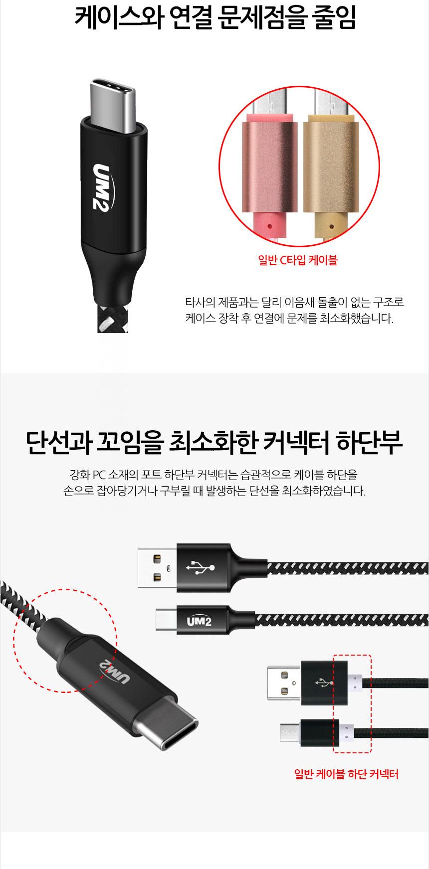 UM2 패브릭 USB C타입 고속 충전 케이블 - 에스엔, 2,900원, 케이블, C타입