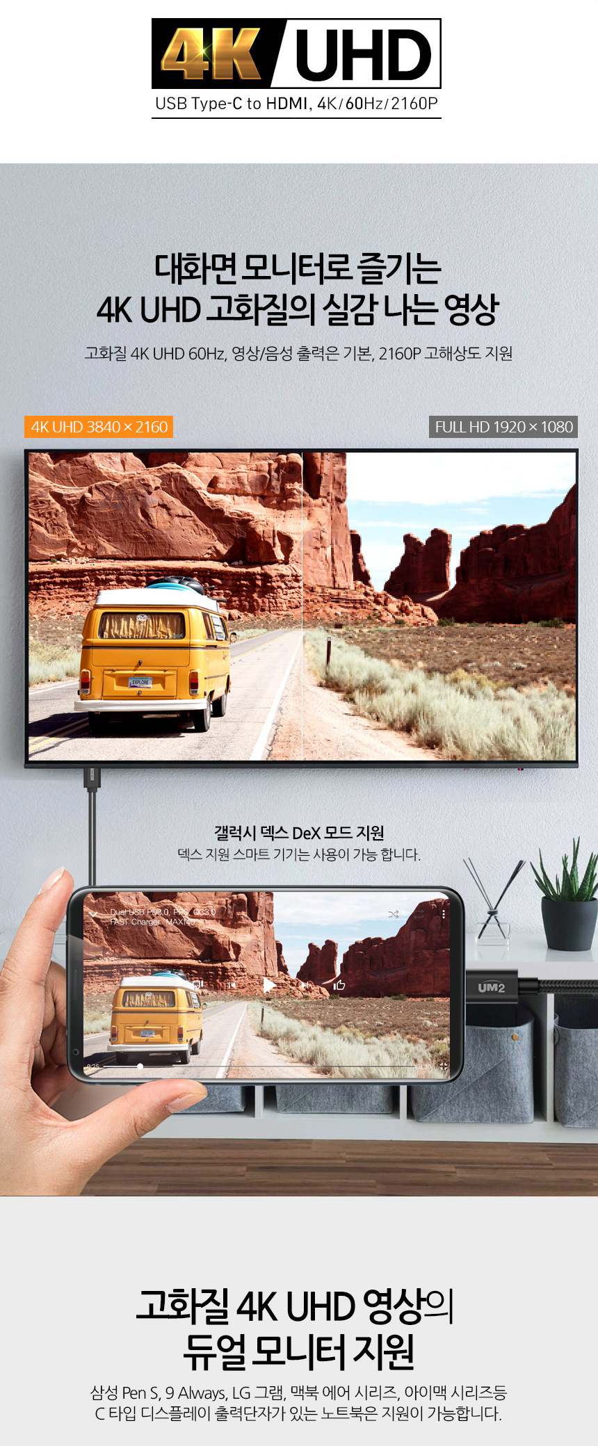 UM2 USB 3.1 타입C to HDMI MHL 스마트폰TV 연결 충전 미러링 케이블 - 에스엔, 35,700원, 케이블, C타입