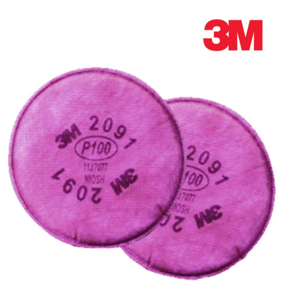 [더산3M]3M 방독마스크 방진필터 2091 1봉 2개입/방독마스크/산업용마스크/3M마스크/안전마스크/방진마스크/방진필터/마스크리필용/일반방독면/호흡보호구/마스크휠터