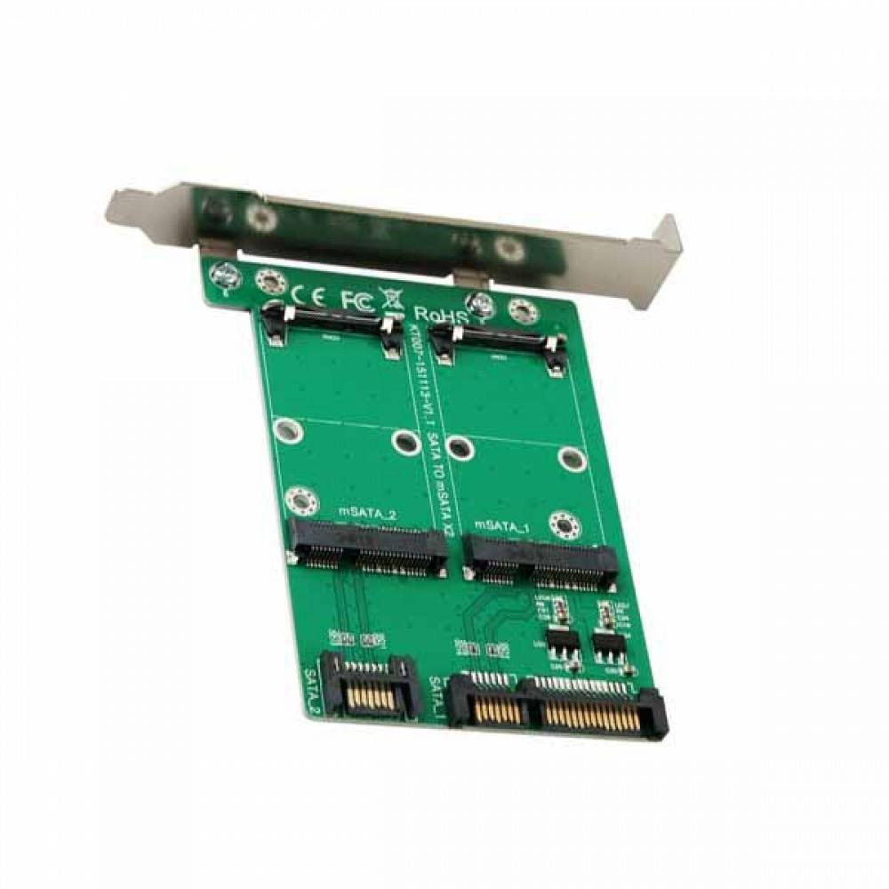 SATA 컨버터 Dual mSATA to SATA 2포트 PC 브라켓타입