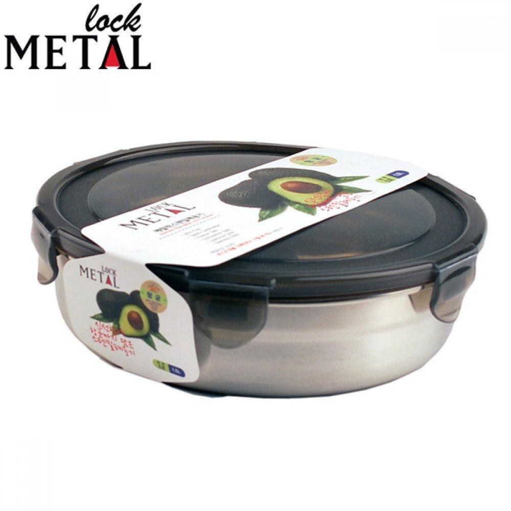 메탈락 스텐밀폐용기 원형5호 1.5L 스텐반찬통