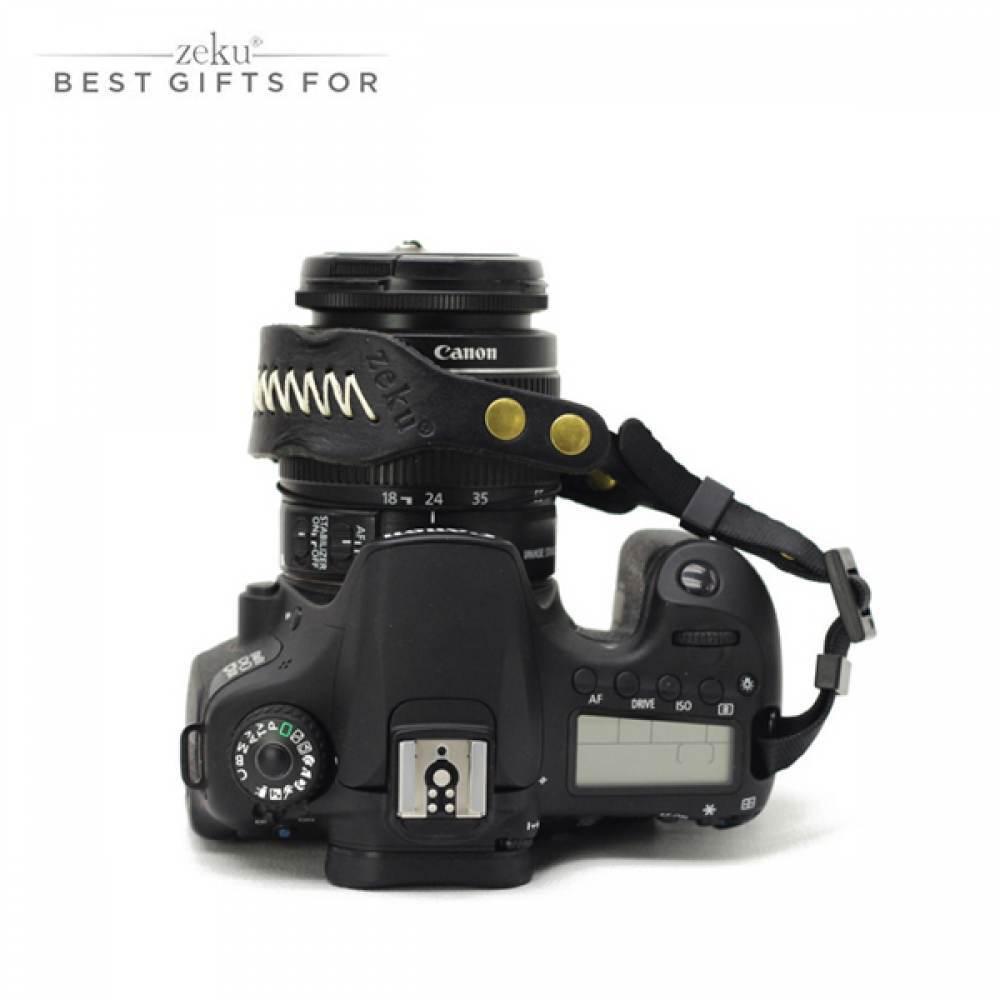 DSLR 카메라 가죽 핸드 스트랩 블랙