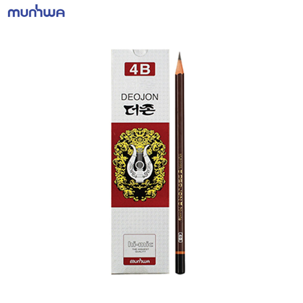 문화 더존 연필 4B 12개입 미술용 학습용