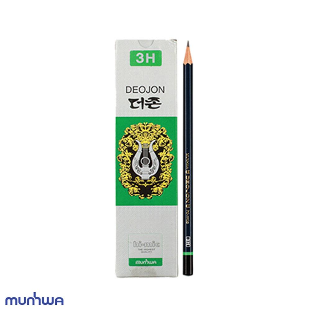 문화 더존 연필 3H 12개입 미술용 학습용