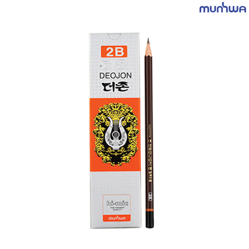 2B연필 문화 더존 연필 2B 12개입 미술용 학습용 문화연필 사무용 스케치용 컴퓨터용