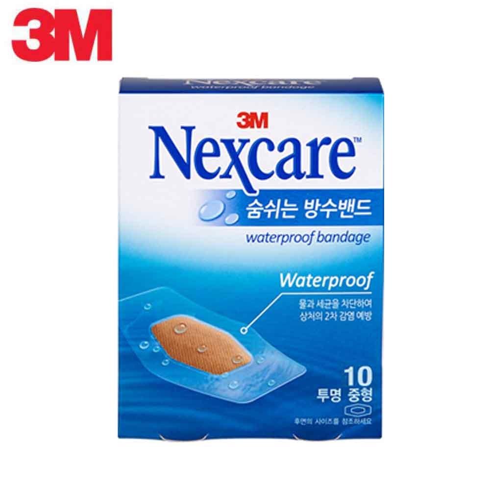 3M 넥스케어 숨쉬는 방수밴드 투명 중형 10매 [제작 대량 도매 로고 인쇄 레이저 마킹 각인 나염 실크 uv 포장 공장 문의는 네이뽕]