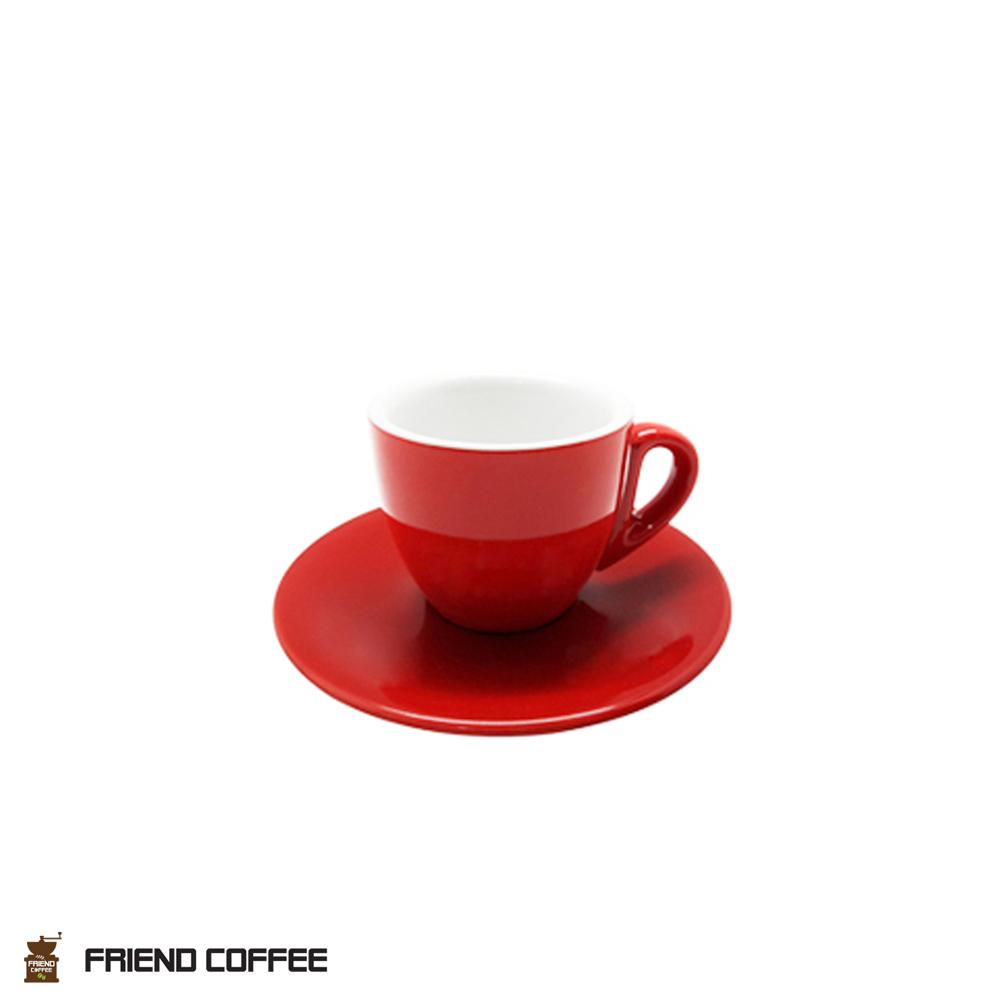 YJ 에스프레소 커피잔 받침 레드 80ml