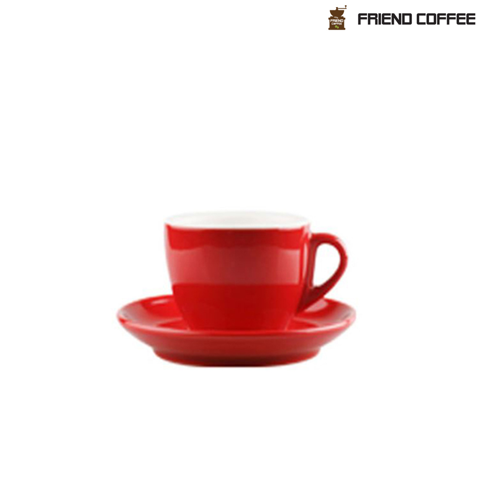 YJ 카푸치노 커피잔 받침 레드 200ml